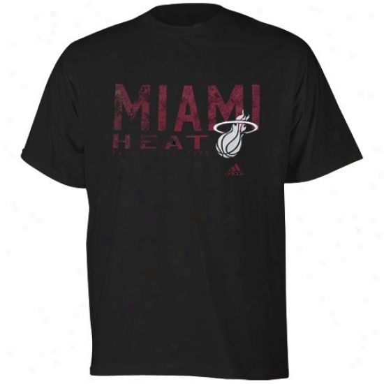 Miami Heat Attire: Adidas Miami Heat Black Fringed T-shirt