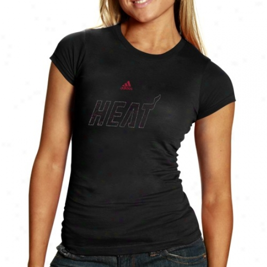 Miami Heat Attire: Adidas Miami Heat Ladies Black Inner Thoughts Silky Smoo5h T-shirt