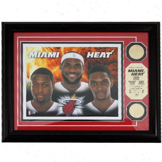Miami Heat Big Three 24kt Gold Coin Photomint