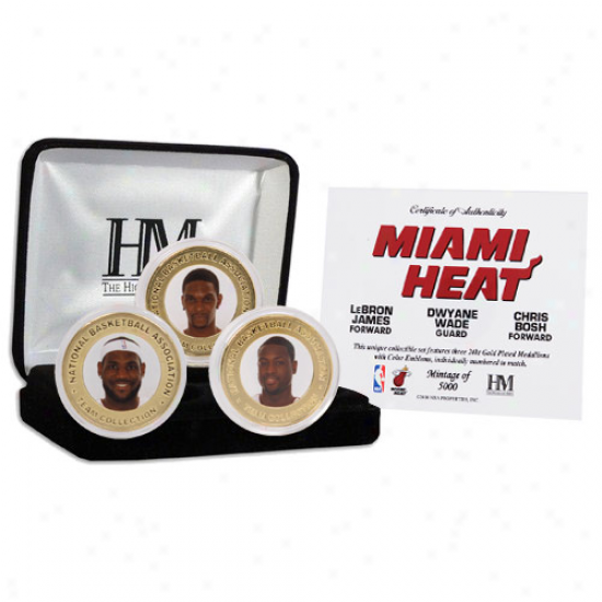 Miami Heat Big Three 24kt Gold Coin Set