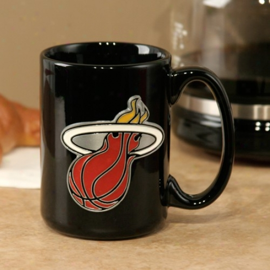Miami Heat Black 15oz. Pewter Logo Ceramic Mug