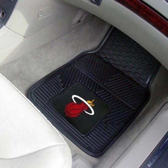 Miami Heat Negro 2-piece Vinyl Car Mat Set