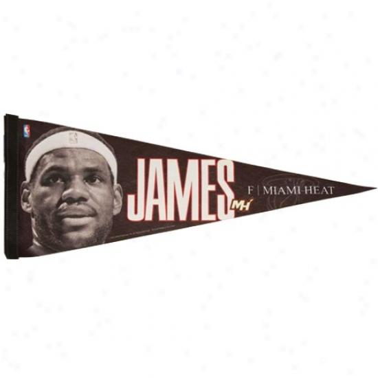 Miami Heat Black Lebron James Player Pennant