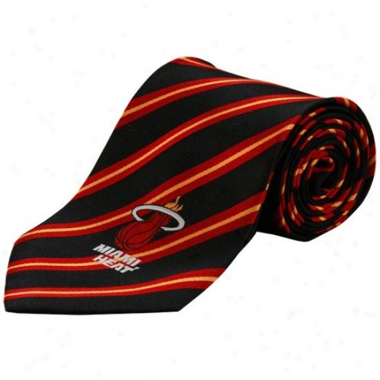 Miami Heat Black Logo Stripe Silk Neck Tie
