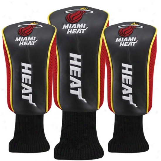 Miami Heat Black-red 3-pack Golf Club Headcovers