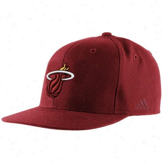 Miami Warm Hat : Adidas Miami Heat Red Basic Logo Fitted Hat