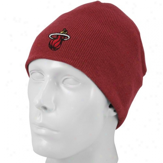 Miami Heat Hat : Adidas Miami Excite Red Basic Logo Knit Scully Knit Beanie