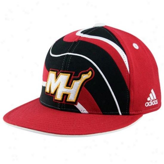 Miami Heat Hat : Adidas Miami Heat Red Spiral Flat Bill Fitted Hat