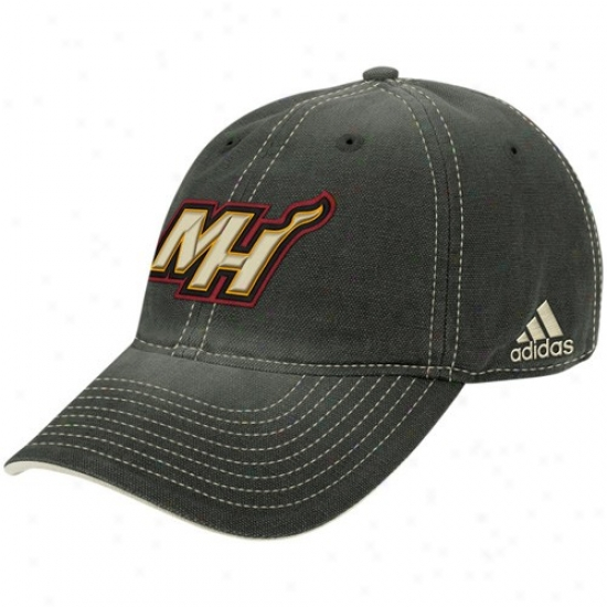 Miami Excitement Hats : Adidas Miami Heat Wicked Slouch Adjustable Hats