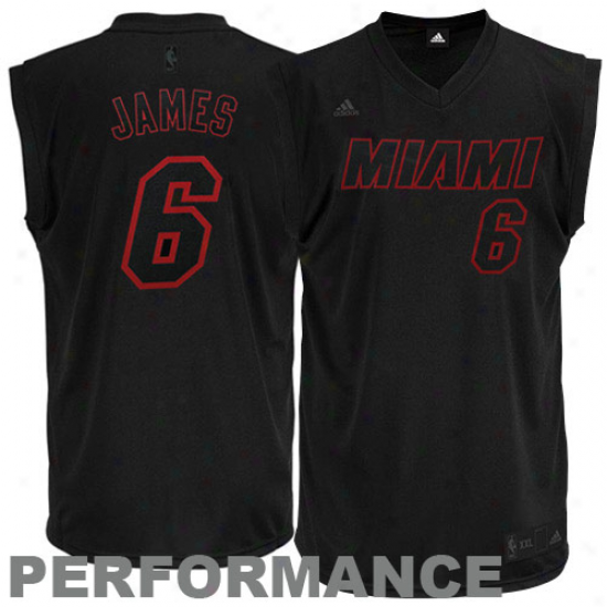 Miami Heat Jersey : Adidas Lebron James Miami Heat New Replica Performance Jersey-black-on-black