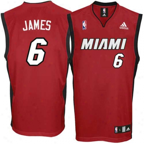 Miami Heat Jersye : Adidas Lebron James Miami Heat Replica Jersey-red