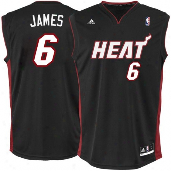 iMami Heat Jerseys : Adidas Lebron Miami Heat Youth Starting a~ Replica Jersey-black