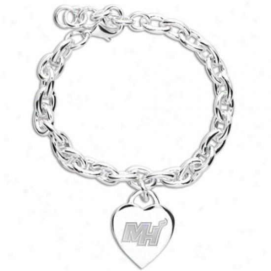 Miami Heat Ladies Silver Heart Charm Bracelet