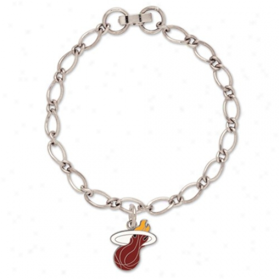 Miami Heat Ladies Silver-tone Charm Bracelet