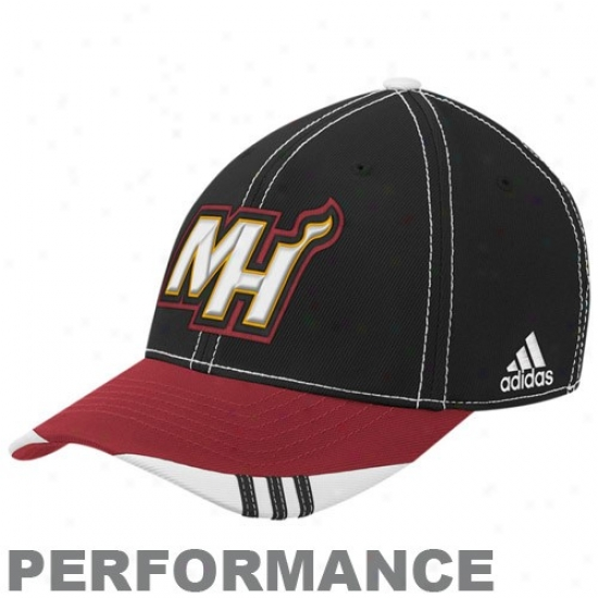 Miami Heat Merchanxise: Adidas Miami Heat Black-red Official Forward Court Performance Flex Fit Hat