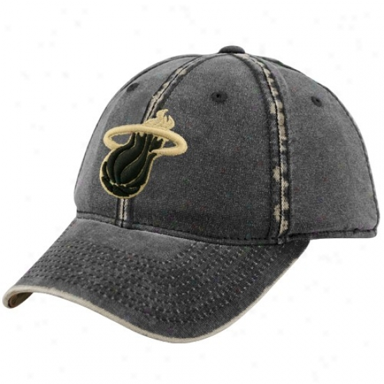 Miami Heat Merchandise: Adidas Miami Heat Charcoal Distressed Flex Fit Hat