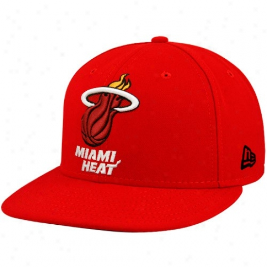 Miami Heat Merchandise: New Era Miami Heat Red 59fifty Primary Logo Flat Brim Fitted Hat