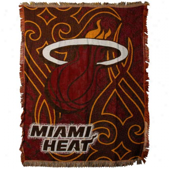 Miami Heat Red 48'' X 60'' Beat of drum Jacquard Woven Blanket Throw