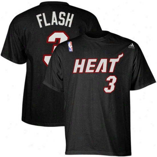 Miami Heat Shirt : Adidas Miami Heat #3 Dwyane Wade Blck Net Actor Nickname Shirt