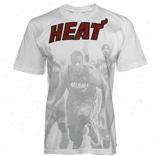 Miami Heat Tee : Adidas Miami Heat White Dig Tee
