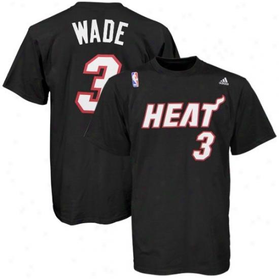 Miami Heat Tshirts : Adidas Miami Heat #3 Dwyane Wade Black Player Tshirts