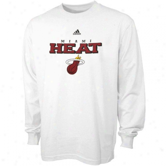 Miami Heat Tshirts : Adidas Miami Heat White True Long Sleeve Tshirts