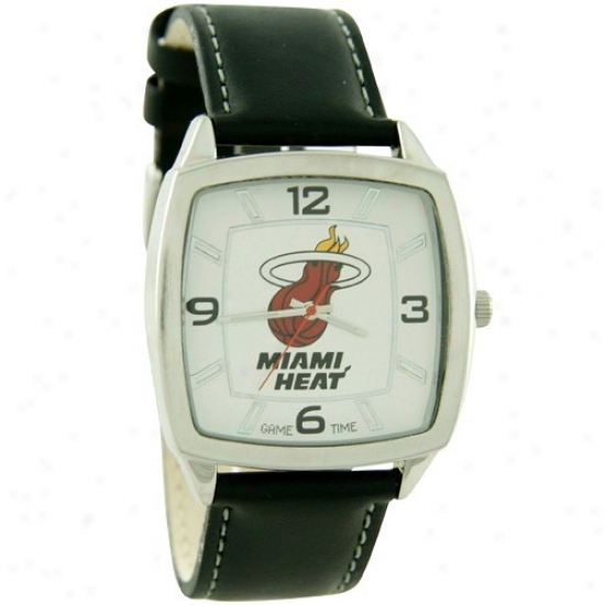 Miami Heat Watch : Miami Heat Retro Watch W/ Leather Band