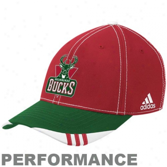 Milwaukee Buck Gear: Adidas Milwaukee Buck Red-green Official On Court Flex Fit Hat