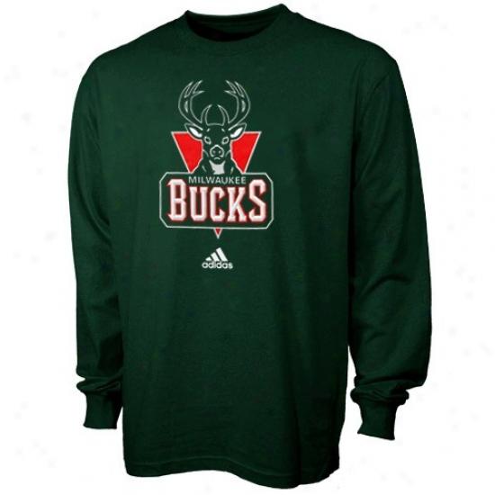 Milwaukee Buck Shirts : Adidas Milwaukee Buck Youth Green Full Primary Logo Long Sleeve Shirts