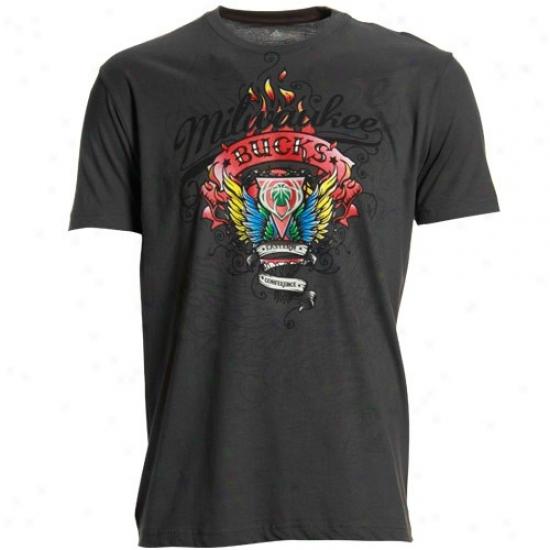 Milwaukee Buck T-shirt : Adidas Milwaukee Buck Charcoal Flame Thrower Super Soft Premium T-shirt