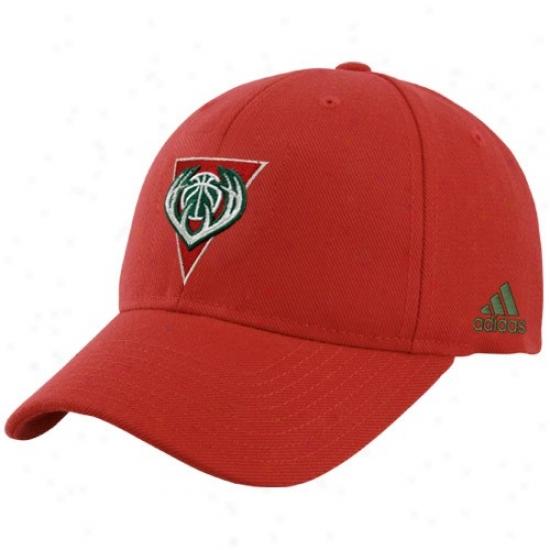 Milwaukee Bucks Cap : Adidas Milwaukee Bucks Red Basic Loyo Flex Fit Cap