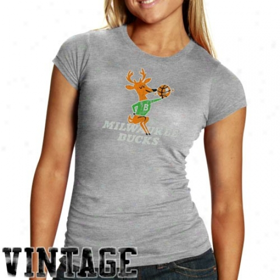 Milwaukee Bucks Shirts : Milwaukee Bucks Ladies Ash Basic Throwback Logo Triblend Shirts