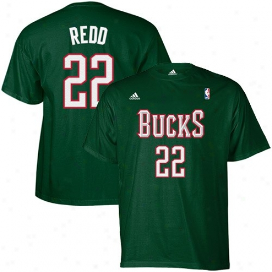 Milwaukee Bucks T Shirt : Adidas Milwaukee Bucks #22 Michael Redd Green Net Player T Shirt