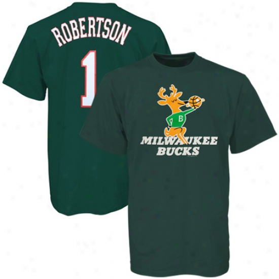 Milwaukwe Bucks T-shirt : Majestic Milwaukee Bucks #1 Oscar Robertson Green Player T-shirt
