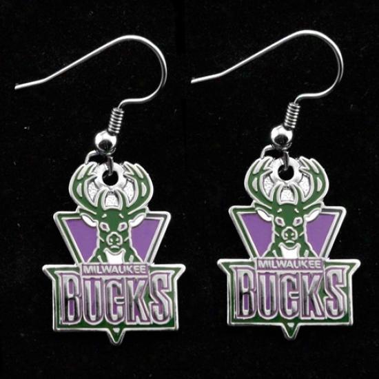 Milwaukee Bucks Team Loogo Dangle Earrings