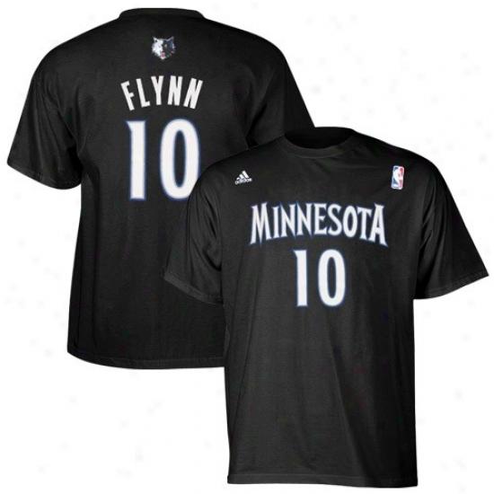 Minnesota Timberwolf Attire: Adidas Mnnesota Timberwolf #10 Jonny Flynn Black Net Player T-shirt
