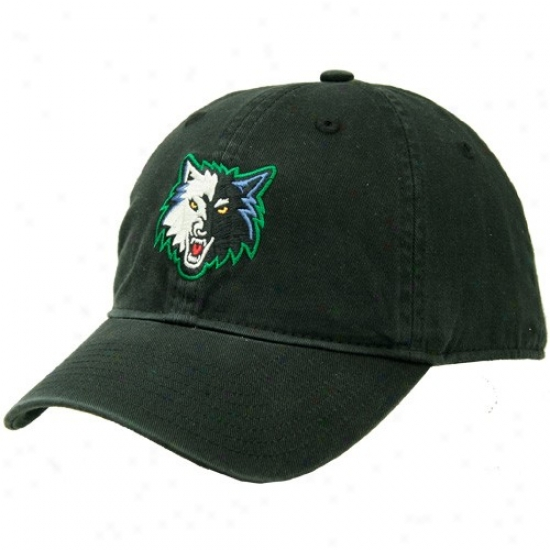 Minnesota Timberwolf Caps : Adidas Minnesota Timberwolf Black Basic Logo Slouch Caps