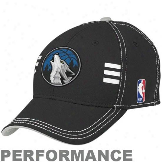 Minnesota Timberwolf Hat : Adidas Minnesota Timberwolf Black Official Draft Day Performance Stretch Fit Hat