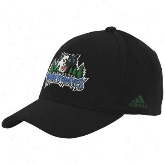 Minnesota Timberwolf Hat : Adidas Minnesota Timberwolf Black Basic Logo Flex Fit Hat