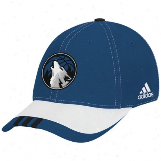 Minnesota Timberwolf Hats : Adidas Minnesota Timberwolf Royal Blue Nba Draft Day 1-fit Flex Fit Hats
