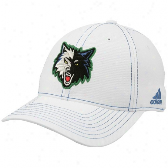 Minnesota Timberwolf Hats : Adidas Minnesota Timberwolf White Team Logo L/xl Structured Flex-fit Hats