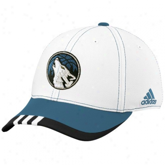 Minnesota Timberwolf Hats : Adidas Minnesota Timberwolf White On Court Flex Fit Hats