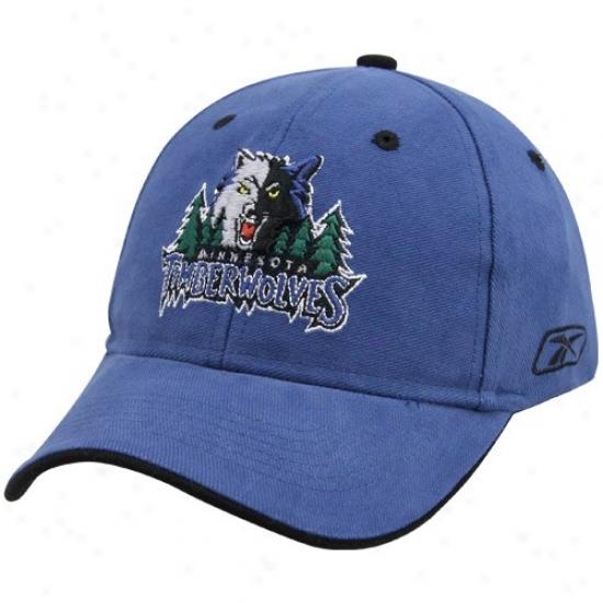 Minnesota Timberwolf Commodities: Reebok Minnesota Timberwolf Blue Youth Basic Logo Flex Fit Hat
