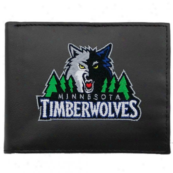 Minnesota Timberwolves Black Embroidered Billfold Wallet