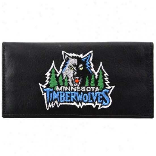 Minnesota Timberwolves Black Embroidered Leather Checkbook Cover