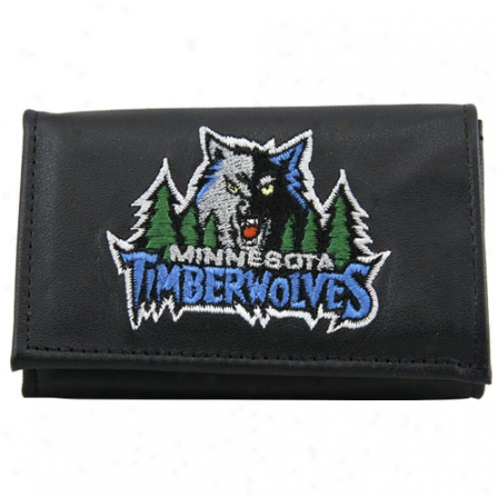 Minnesota Timberwolves Black Leather Trifold Wallet