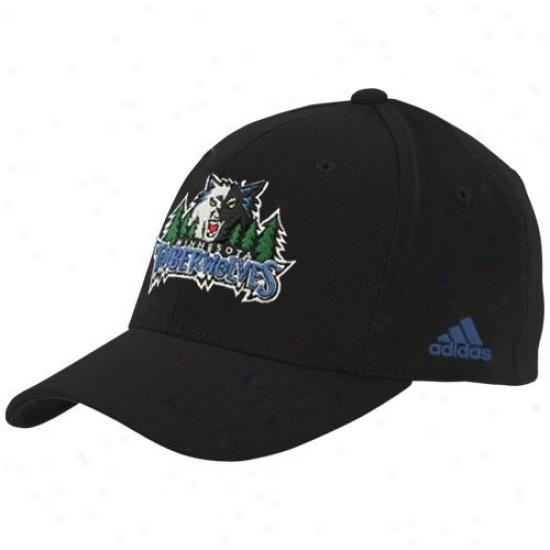 Minnesota Timberwolves Cap : Adidas Minnesota Timberwolves Black Basic Logo Wool Afjustable Match