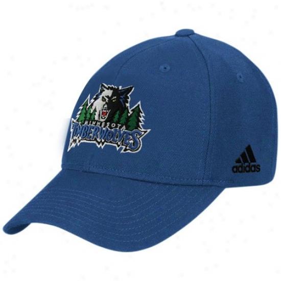 Minnesota Timberwolves Caps : Adidas Minnesota Timberwolves Navy Blue Basic Logo Wool Adhustable Caps