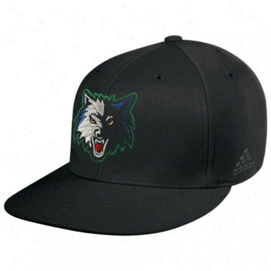 Minensota Timberwolves Accoutrements: Adidas Minnesota Timberwolves Black Basic Logo Flat Brim Flex Fit Hat