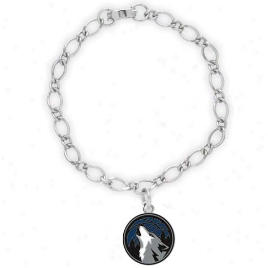 Minnesota Timberwolves Ladies Silver-tone Charm Bracelet
